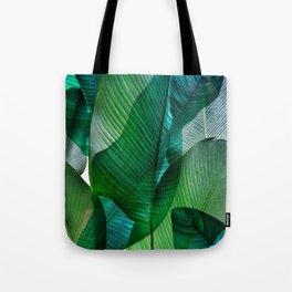 Palm leaf jungle Bali banana palm frond greens Tote Bag