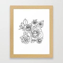 Feminine and Romantic Rose Pattern Line Work Illustration Framed Art Print