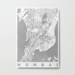 Mumbai Map Line Metal Print