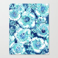 HIBISCUS BOUNTY Blue Tropical Watercolor Canvas Print
