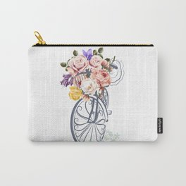 Cute design with bicycle and basket full of rose flowers Carry-All Pouch