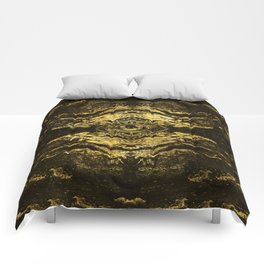 All Seeing eye golden texture on aged wood Comforters