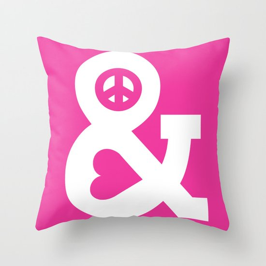 Peace and Love (pink edition) Throw Pillow