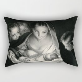 The Nativity, Virgin Mary with Infant Jesus surrounded by Angels Rectangular Pillow