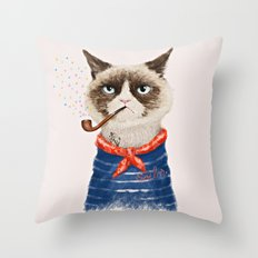Sailor Cat V Throw Pillow