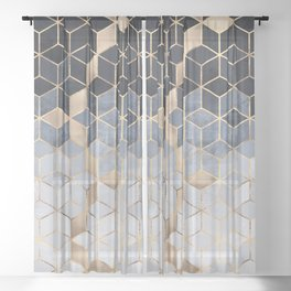 Soft Blue Gradient Cubes Sheer Curtain