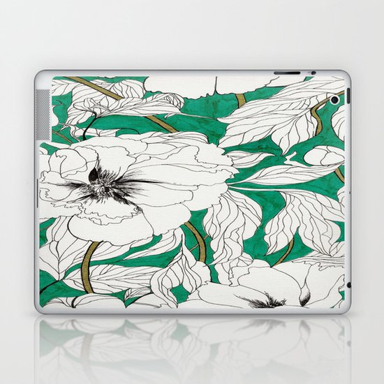 green peonies Laptop & iPad Skin