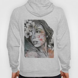 Mascara (expressive female portrait with freesias) Hoody