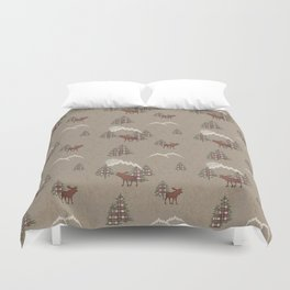 Moose and Mountains Pattern Duvet Cover