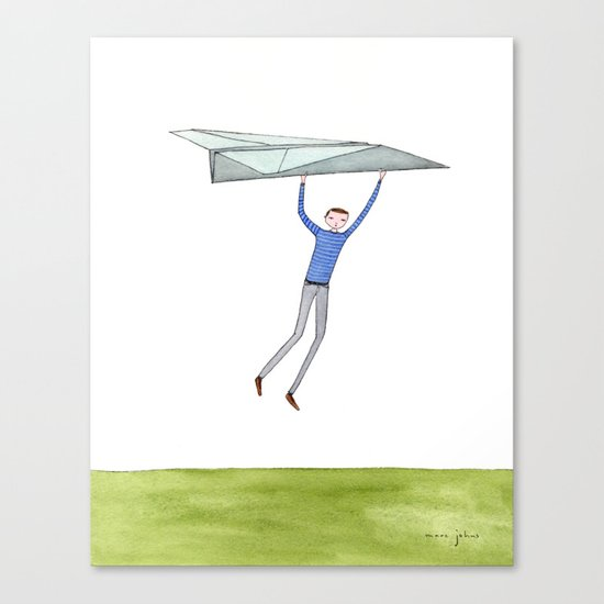 hang on to your paper airplane Canvas Print