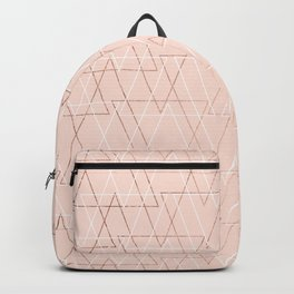 Modern white rose gold abstract geometric triangles on blush pink Backpack