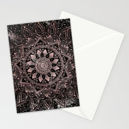 Elegant rose gold mandala dots and marble artwork Stationery Cards