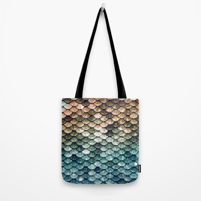Mermaid Tail Teal Ocean Tote Bag