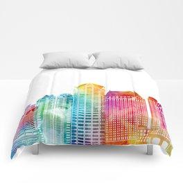 San Diego landmarks watercolor poster Comforters