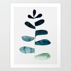 Aqua Ombre Plant Art Print