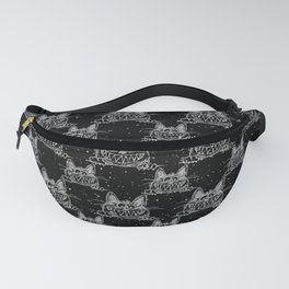 Crazy Kitten in Winter Snow on Black - Animals - Mix and Match with Simplicity of Life Fanny Pack