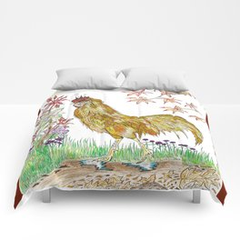 Rooster in Autumn Comforters