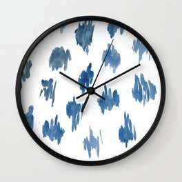 Brushstrokes of blue paint Wall Clock