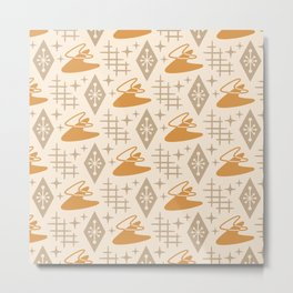 Mid Century Modern Space age Boomerang Pattern 454 Yellow and Beige Metal Print