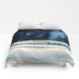 Navy Blue, Gold And White Abstract Watercolor Art Comforters