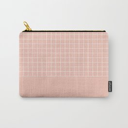 White grid on pale pink Carry-All Pouch