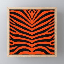 Orange Neon and Black Zebra Stripe Framed Mini Art Print