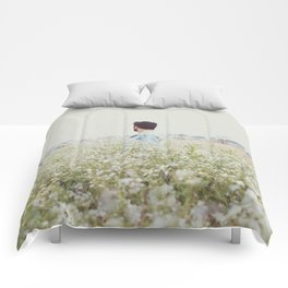 Man - Flowers - Field - Photography Comforters