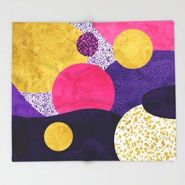 Terrazzo galaxy purple night yellow gold pink Throw Blanket