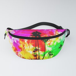 palm tree at the California beach with colorful painting abstract background Fanny Pack