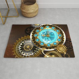 Unusual Clock with Gears ( Steampunk ) Rug