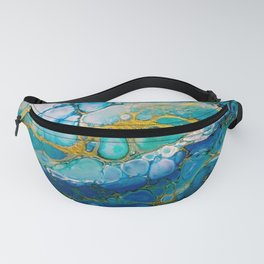 Ocean: a colorful abstract piece in blues and greens by KKingCreations Fanny Pack
