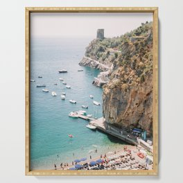 Beach between Amalfi and Positano | Southern Italy Travel | Mediterrenean Coast Photography Serving Tray