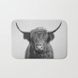 Highland Cow - Black & White Bath Mat