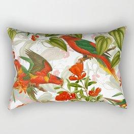 Vintage & Shabby Chic - Birds in Flower Jungle Rectangular Pillow