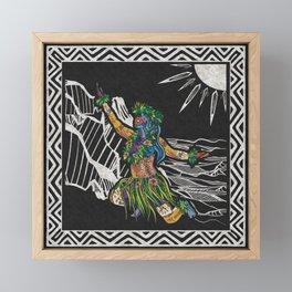 Polynesian Hula Dancer Tapa Print Framed Mini Art Print