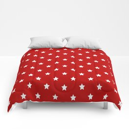 Red Background With White Stars Pattern Comforters