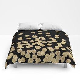 Gold glitter dots scattered on black background Comforters