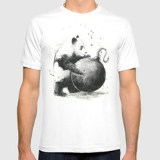 Panda Boom Mens Fitted Tee White LARGE