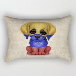 Cute Puppy Dog with flag of Venezuela Rectangular Pillow