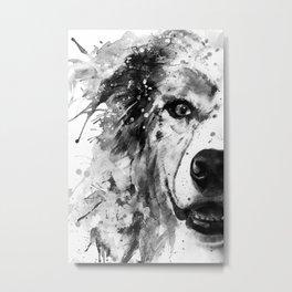 Australian Shepherd Dog Half Face Portrait Metal Print