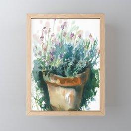 pot with plant, watercolor sketch from nature Framed Mini Art Print