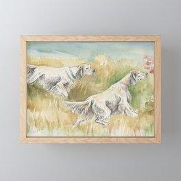 ENGLISH SETTERS in the field Hunting scene Framed Mini Art Print