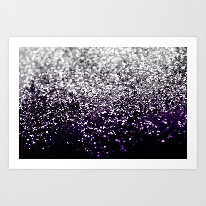 Dark Night Purple Black Silver Glitter #1 #shiny #decor #art #society6 Kunstdrucke
