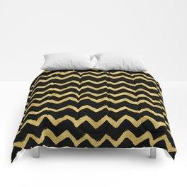 Golden Chevron on Black Background Comforters
