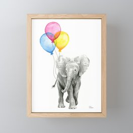 Baby Elephant with Balloons Nursery Animals Prints Whimsical Animal Framed Mini Art Print