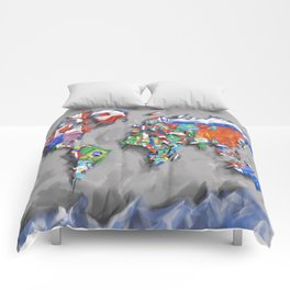 world map with flags Comforters