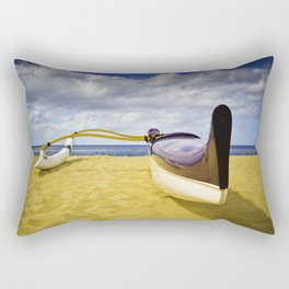 Outrigger canoe on beach Rectangular Pillow