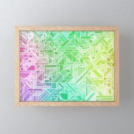 Bright Gradient (Violet Purple Lime Green Neon Yellow) Geometric Pattern Print Framed Mini Art Print