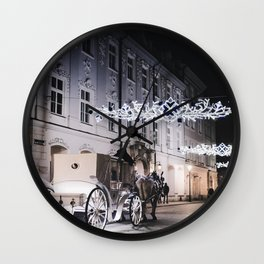 Winter Horse Carriage Ride (Color) Wall Clock
