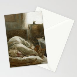 Morning Visitor Oil Painting Interior Sleeping Woman with Cat Stationery Cards